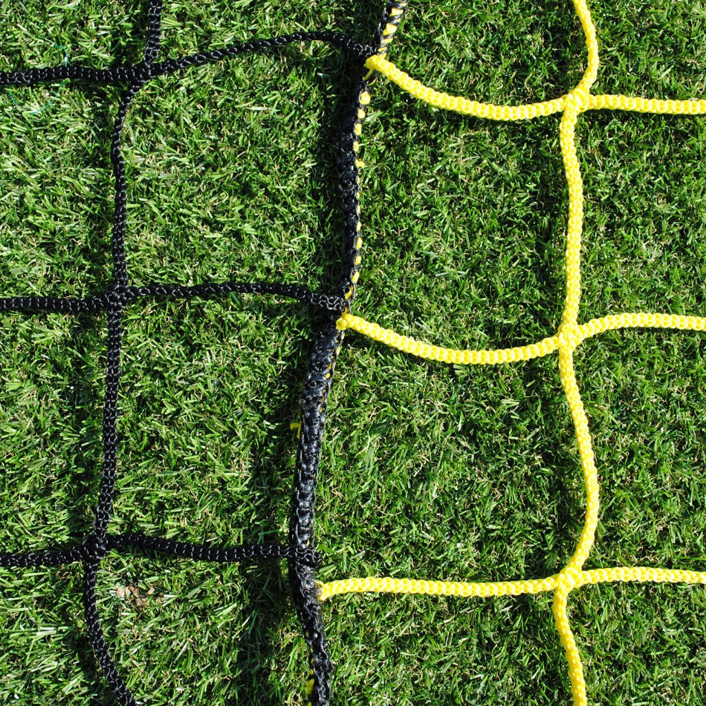 Two Colour Vertical Striped Box Nets for 11-A-Side Senior Football Goals