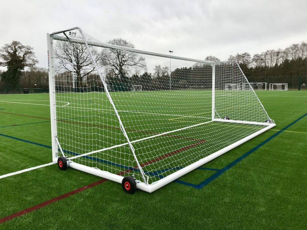 Youth Selfweighted Wheeled 21x7 Football Goal Package: 11-A-Side Freestanding Aluminium