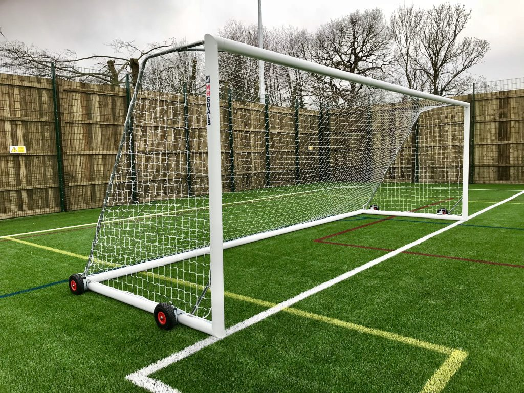 Senior Selfweighted Wheeled 24x8 Football Goal Package: 11-A-Side Freestanding Aluminium