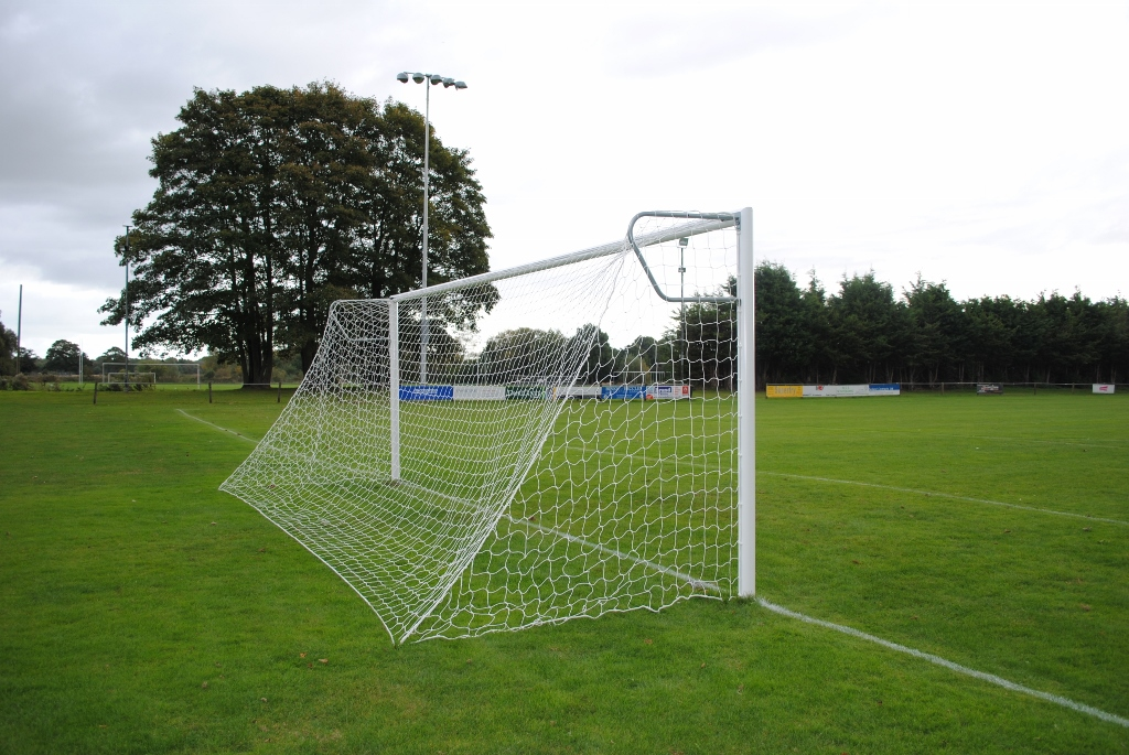 Youth Pro Quick Release 21x7 Football Goal Package with Net Supports: 11-A-Side Socketed Aluminium