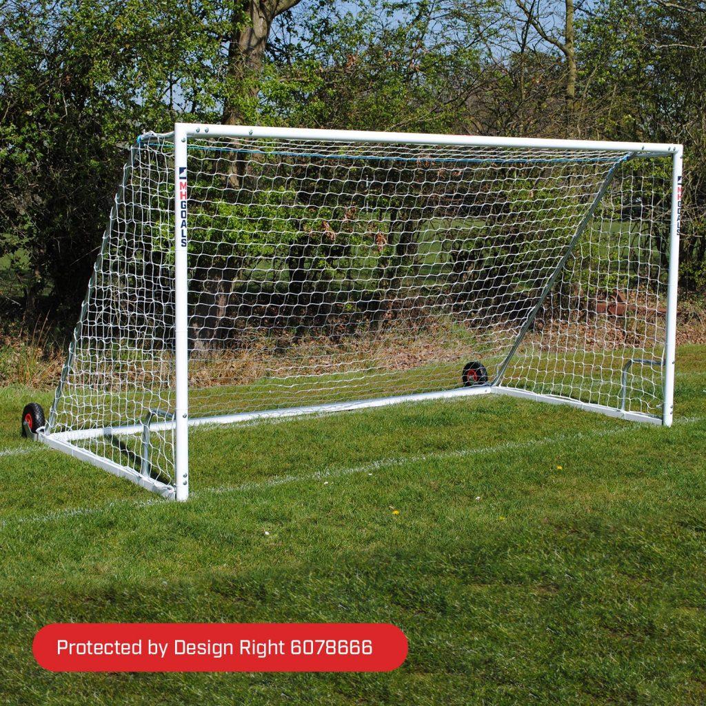 Heavy Duty Wheeled 16x7 Football Goal Package: 9v9 Freestanding Steel
