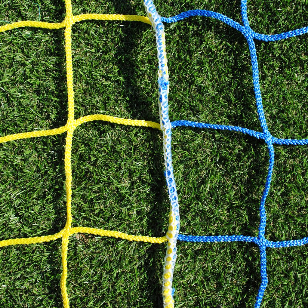 Two Colour Vertical Striped Standard Nets for 5-A-Side 16x4 Football Goals