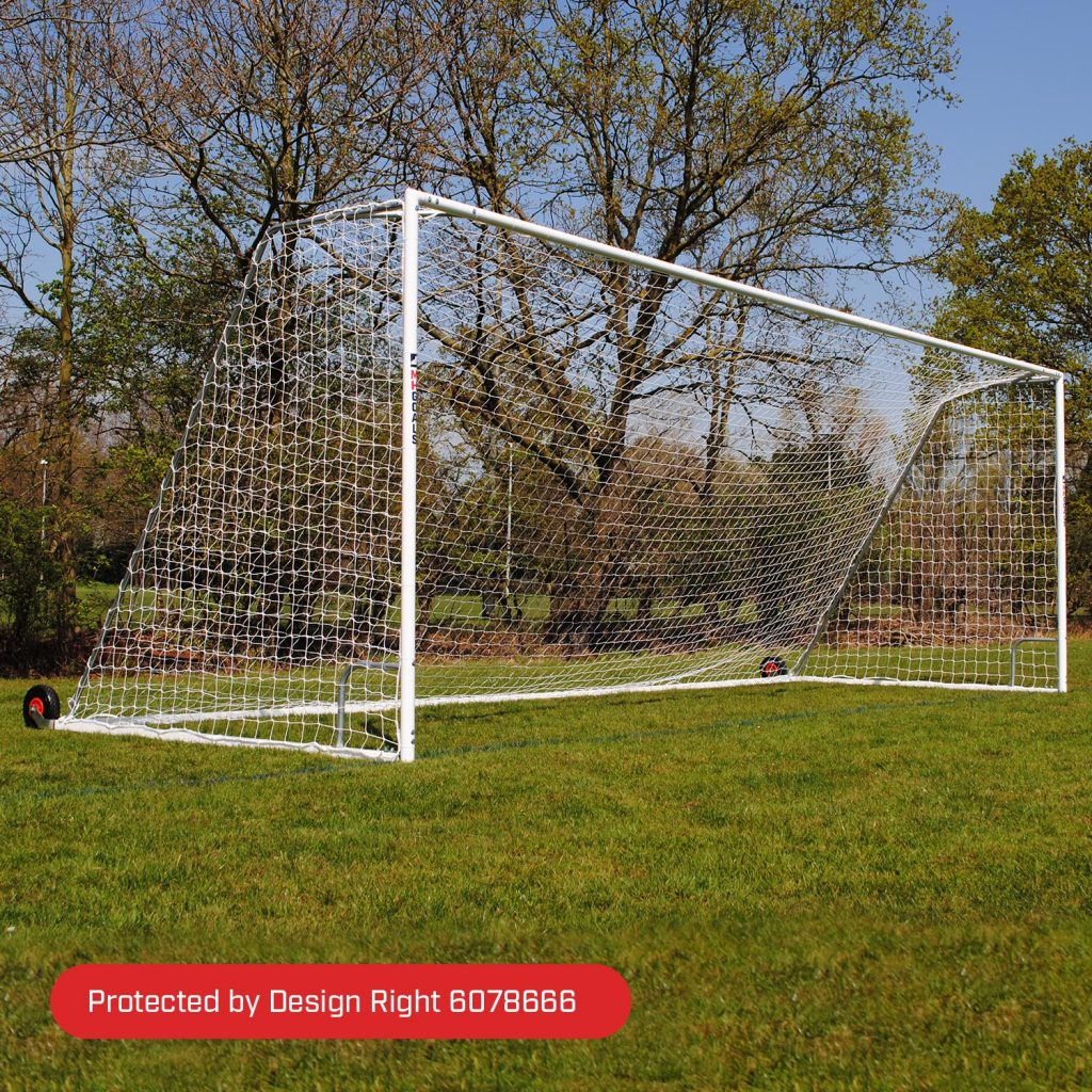 Senior Heavy Duty Wheeled 24x8 Football Goal Package: 11-A-Side Freestanding Steel