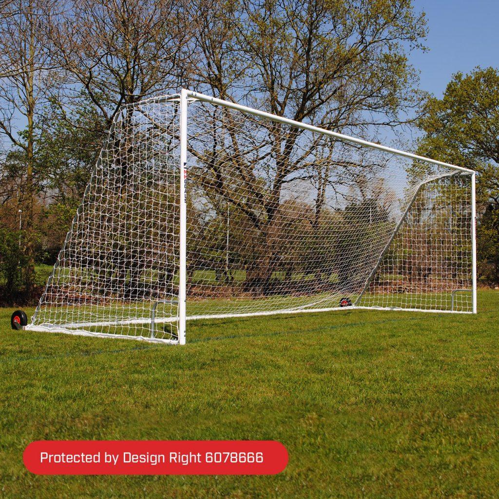 Youth Heavy Duty Wheeled 21x7 Football Goal Package: 11-A-Side Freestanding Steel