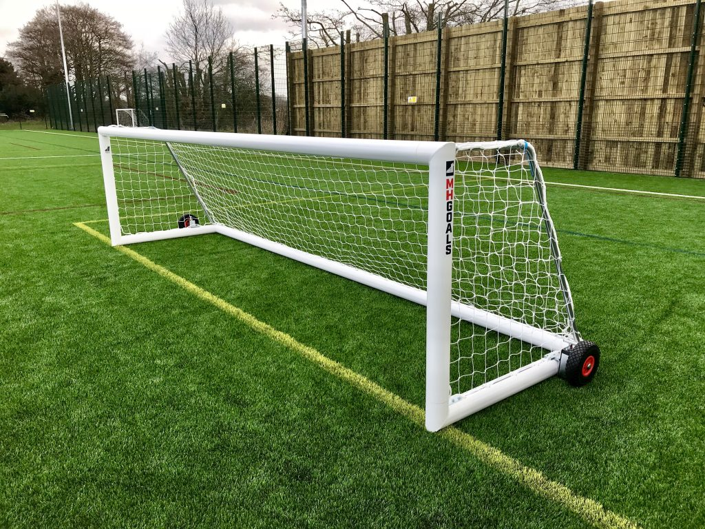 12x4 Selfweighted Wheeled Football 5v5 Goal Package: 5-A-Side Freestanding Aluminium