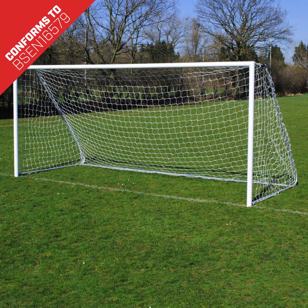 Lightweight Folding 16x7 Football Goal Package: 9v9 Freestanding Aluminium