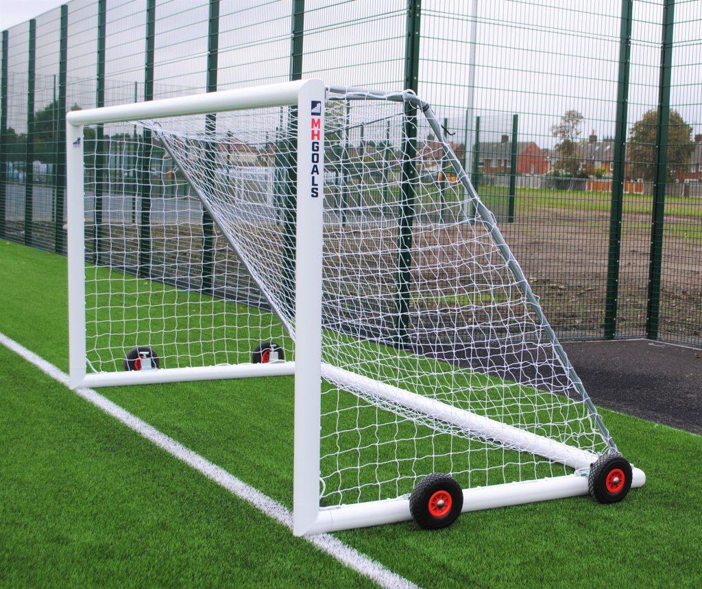12x6 Selfweighted Wheeled Football 7v7 Goal Package: Mini Soccer Freestanding Aluminium