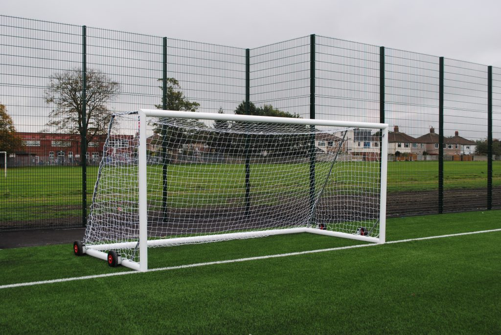 Selfweighted Wheeled 16x7 Football Goal Package: 9v9 Freestanding Aluminium