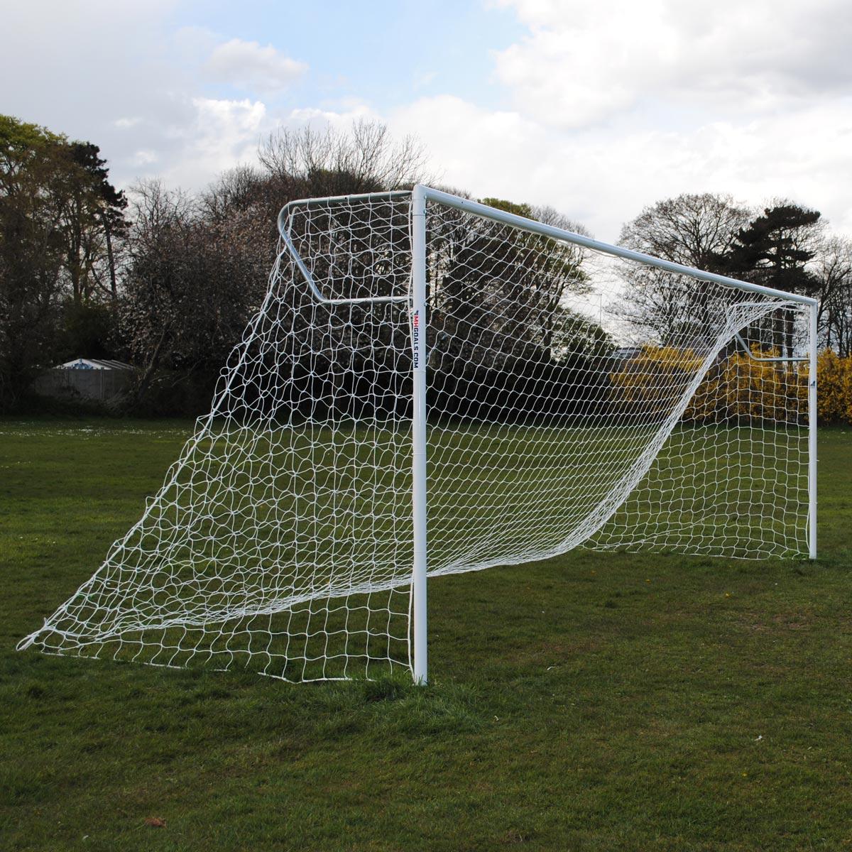 Senior Heavy Duty 24x8 Football Goal Package: 11-A-Side Socketed Steel