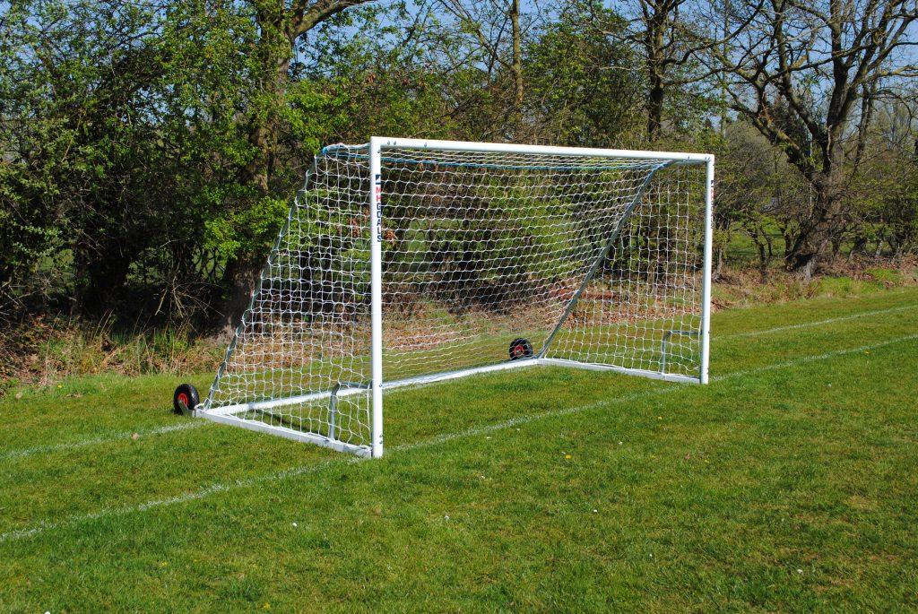 12x6 Heavy Duty Wheeled Football 7v7 Goal Package: Mini Soccer Freestanding Steel