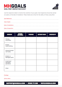 Goalpost safety check form