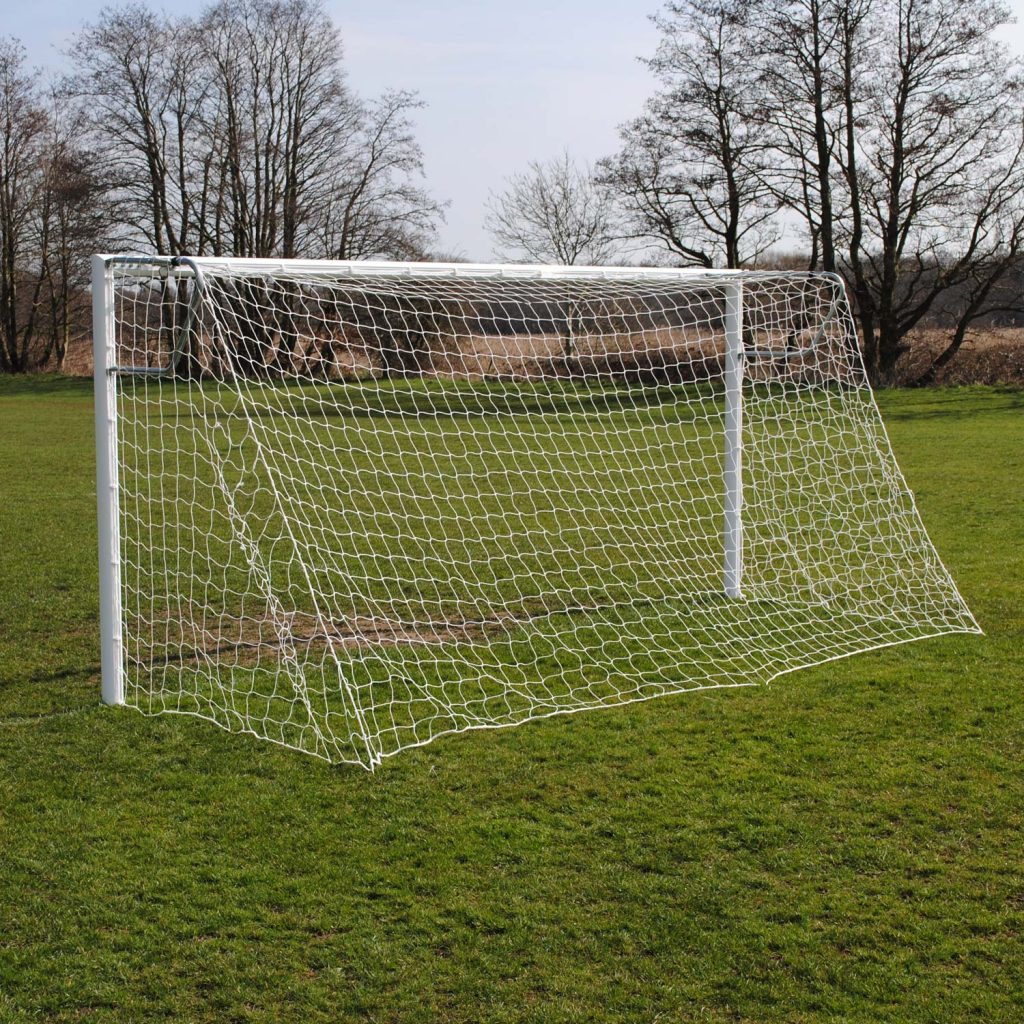 Pro Quick Release 16x7 Football Goal Package: 9v9 Socketed Aluminium