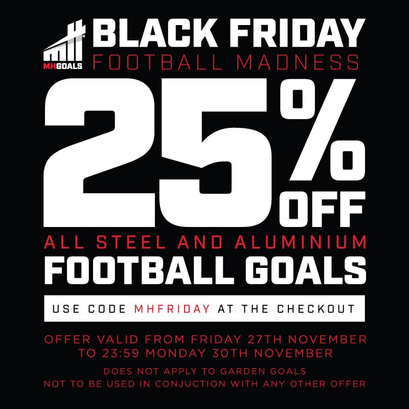 25% off all steel and aluminium football goals